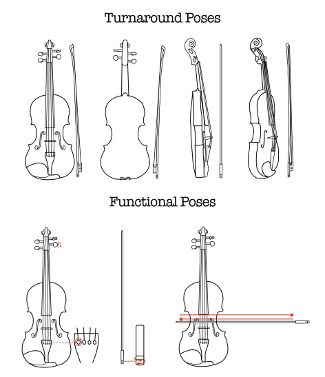 Turnaround and Functional Poses - Violin